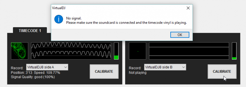 virtual dj software virtualdj 8 user manual settings audio click on the calibrate button to automatically detect the type of timecode after correcting any hardware related stereo cable inverted needle wired