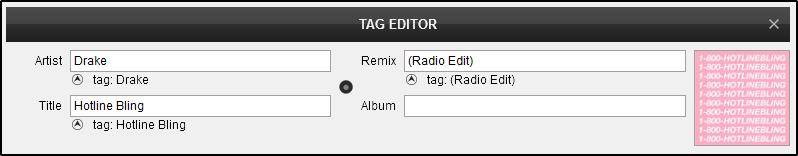 DJ Software - VirtualDJ - User Manual - Editors - Tag editor