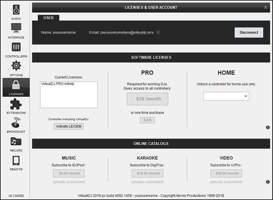 DJ Software - VirtualDJ - User Manual - Settings - Licenses