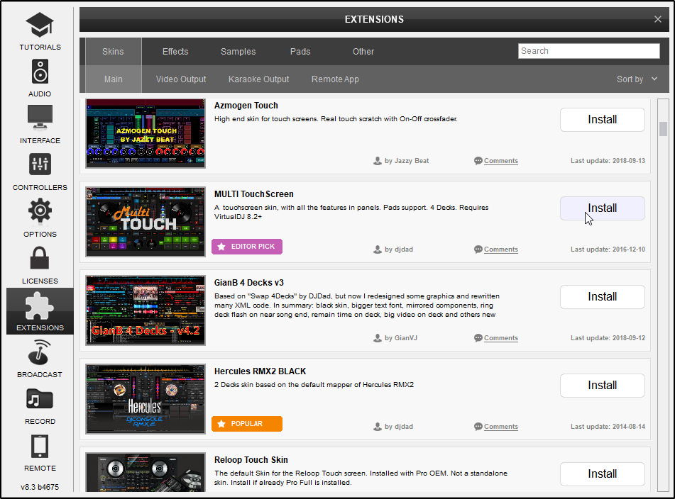 DJ Software - VirtualDJ - User Manual - Settings - Extensions