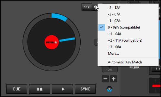 virtual dj key change